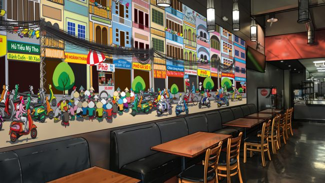 Restaurant mural design mockup: Saigon street food