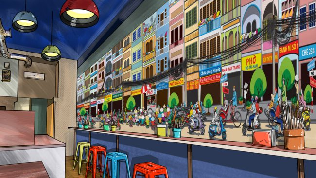 Dining room mural mockup-Saigon street food