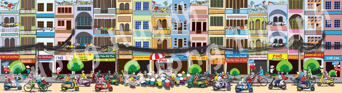 Saigon Street Food Scene-full mural