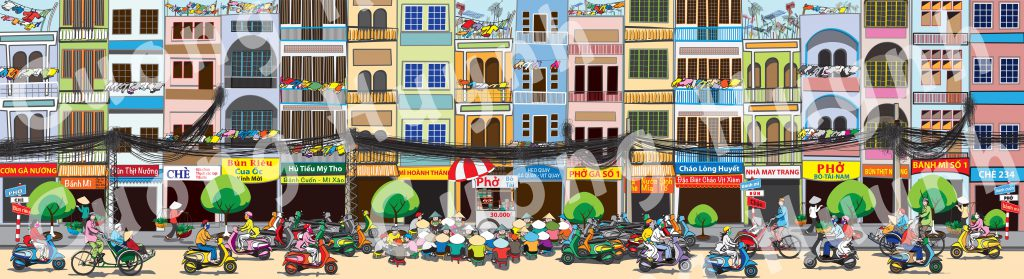 Saigon Street Food Scene-full mural