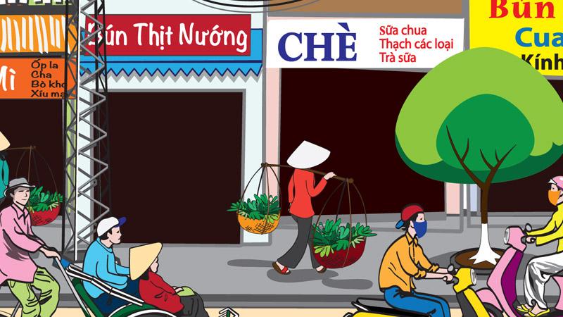 Saigon Street Food Scene #1-people on street