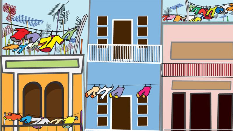 Saigon Street Food Scene #1-rooftop antennas and clotheslines