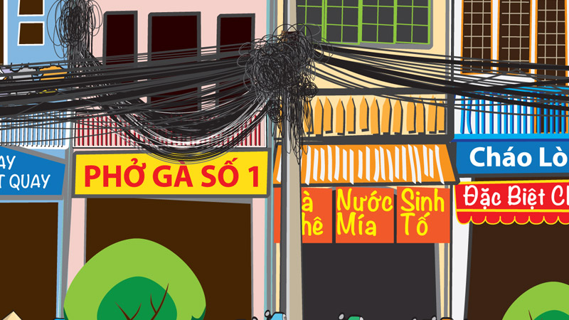 Saigon Street Food Scene #1-street signs, storefronts and electrical cables