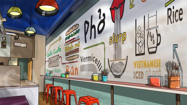 Dining room mural mockup-pho restaurant