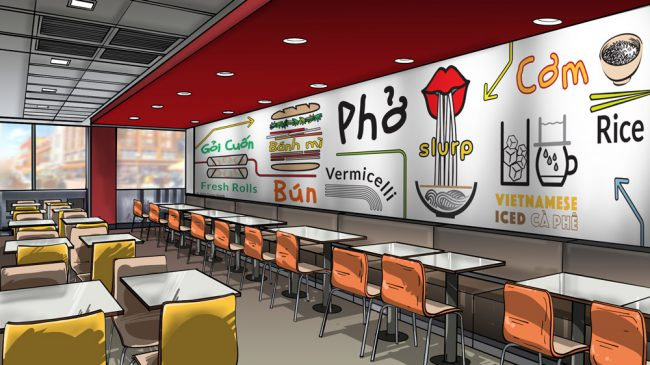 Dining room mural mockup3-pho restaurant