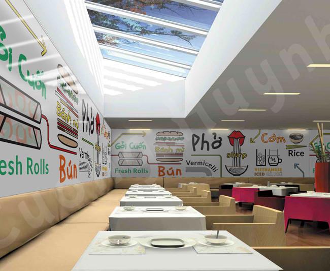 Restaurant mural design concept mockup 3