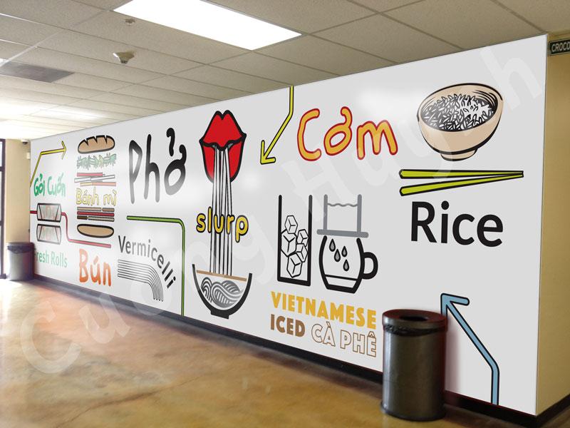 Restaurant mural design concept mockup 4