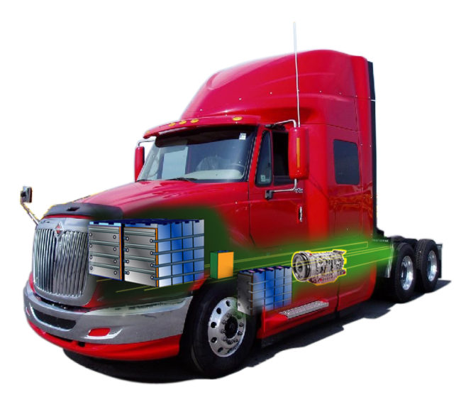 Prostar truck cut-away: battery electric motor option