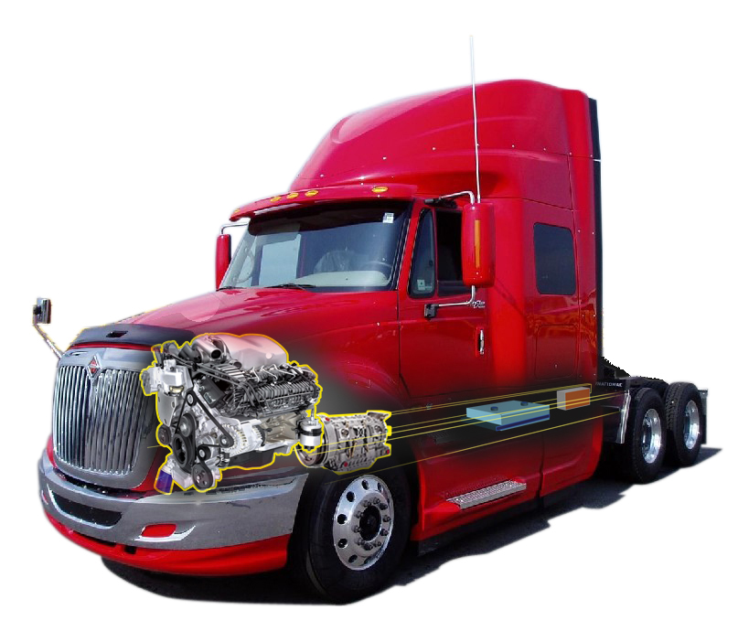 Prostar truck cut-away: diesel engine electric motor option