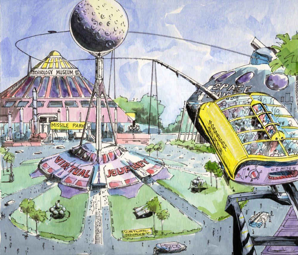 Conceptual illustration: Space theme park - moonbase shuttle