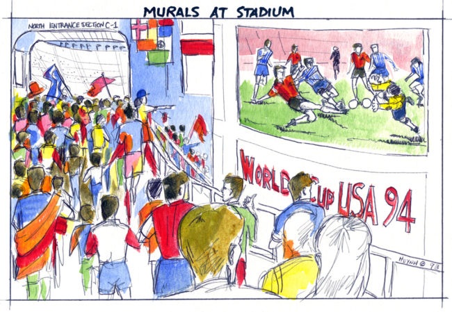 World Cup event concept-stadium entrance murals