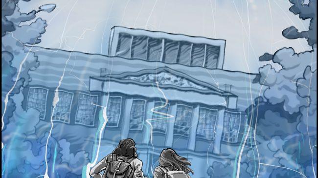 Concept illustration: University library force field scene
