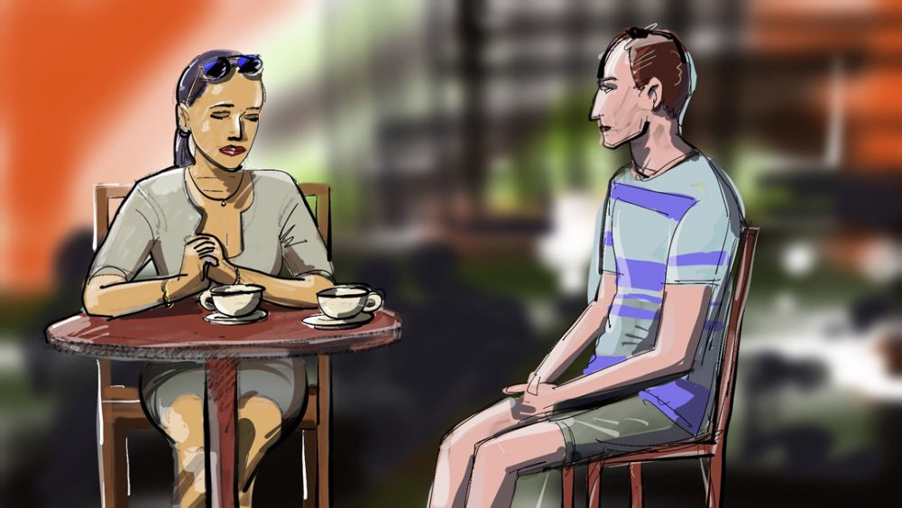 Engaging Conversation At Panera - Digital painting by Cuong Huynh Storyboard Artist
