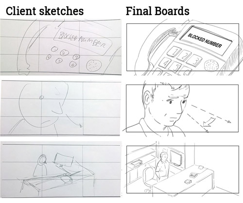 Client sketch to final boards comparison