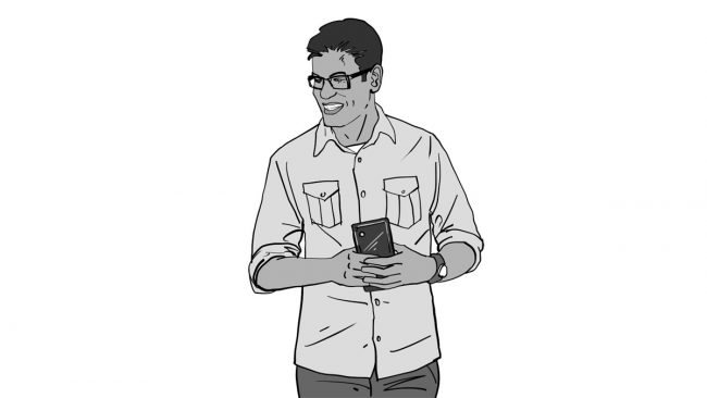 Animatic character Vivek-mobile phone