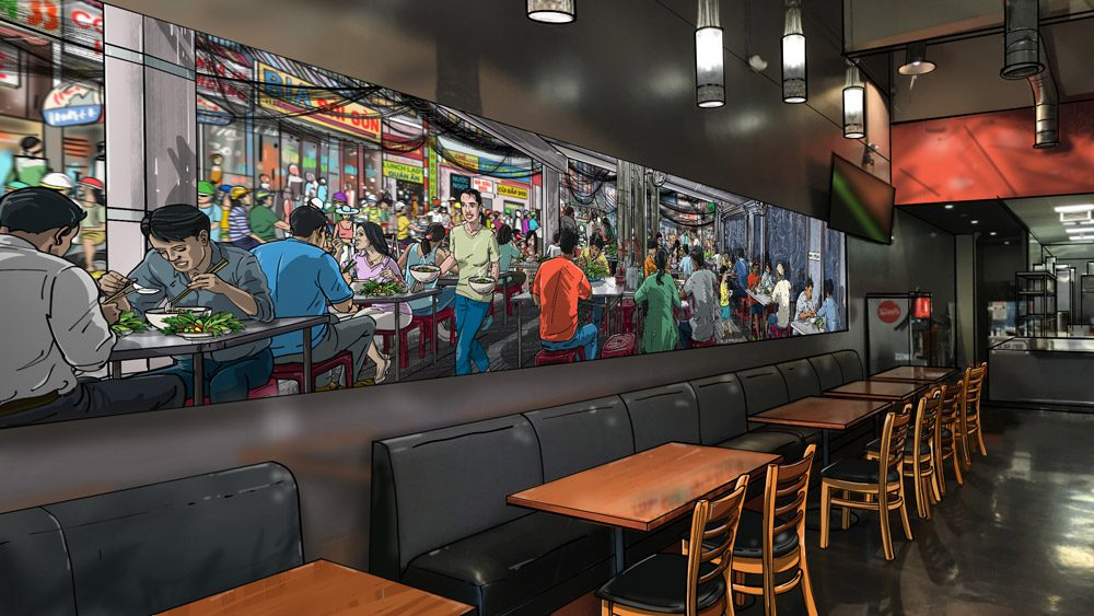 Dining room mural design mockup: Saigon pho restaurant