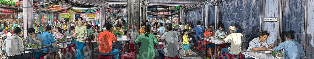 Pho Restaurant Wall Mural: Eating Pho In Saigon Pho Restaurant-Full size