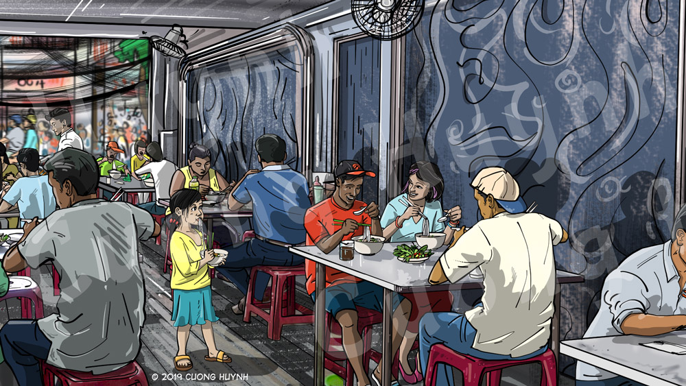 Saigon Pho Restaurant Wall Mural Design-right inner section