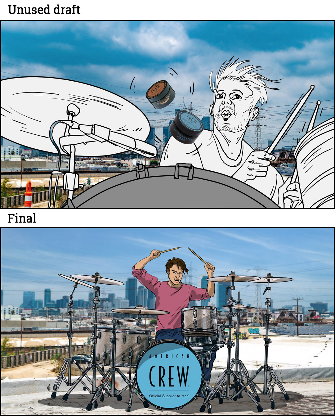 ACP 23 drummer storyboard, draft versus final