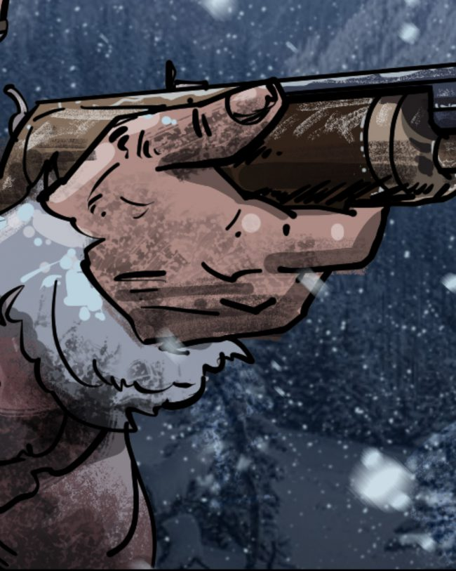 Lefty with Winchester rifle-detail2
