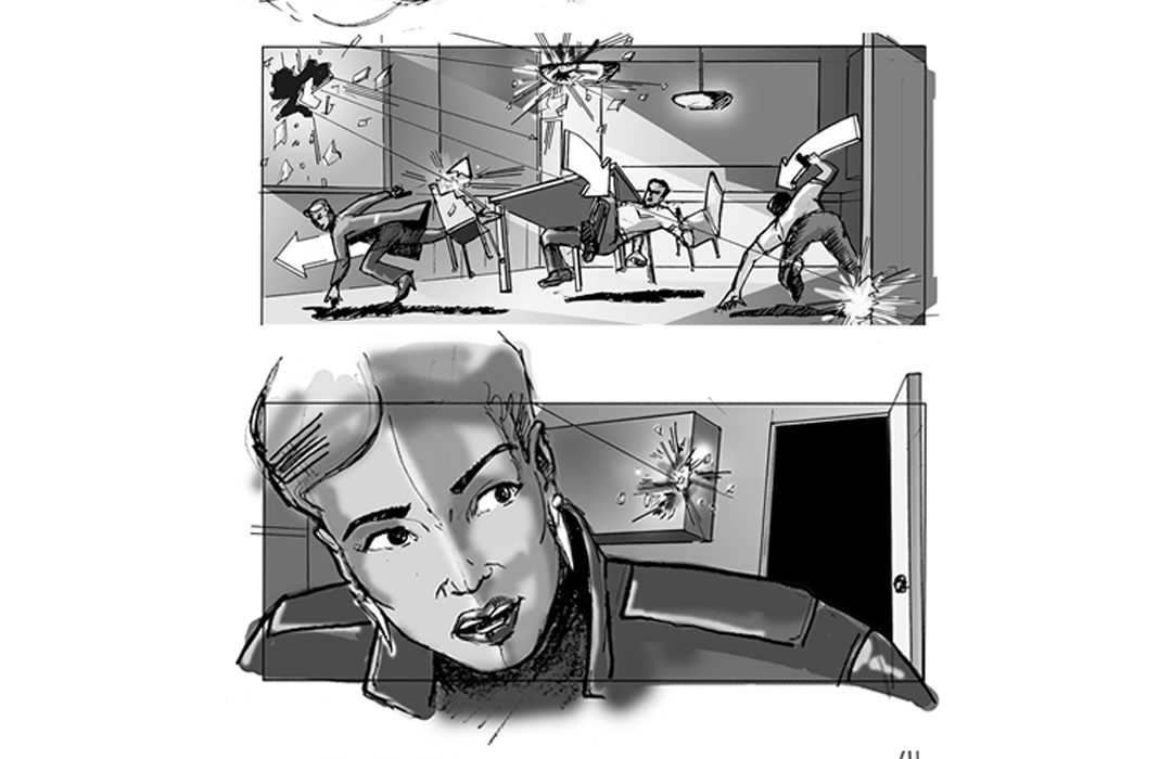 Sniper sequence storyboards