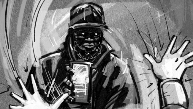 POV BUBBLE GUY: MEDIUM on SILHOUETTE GUY shoving his cell phone toward camera