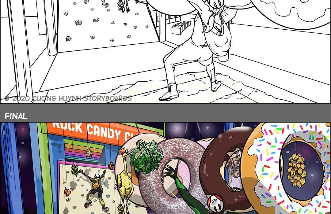 Cooking show line and final storyboard frame-9