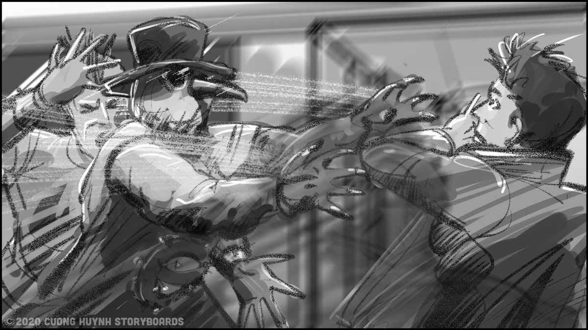Storyboarding A Street Battle Scene - Episode 02 - Frame 14