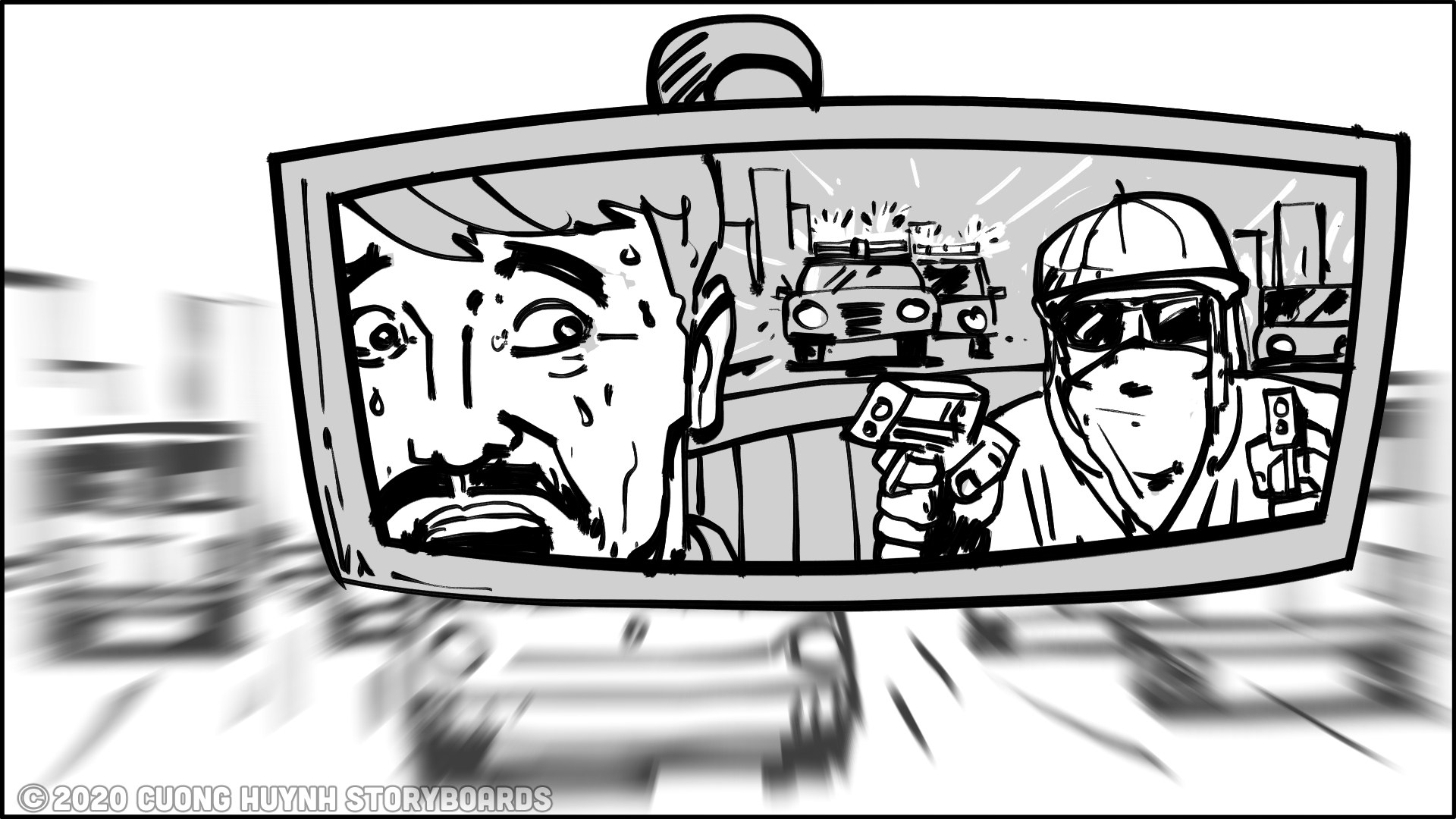 Storyboarding driver-backseat passenger scene - option 2