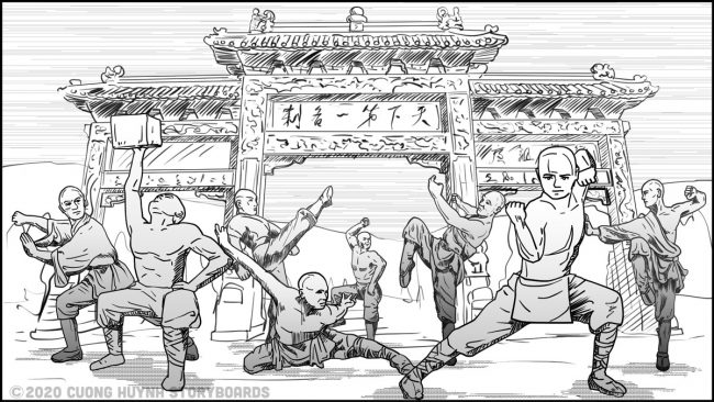 Shaolin kung fu monk practice-gate