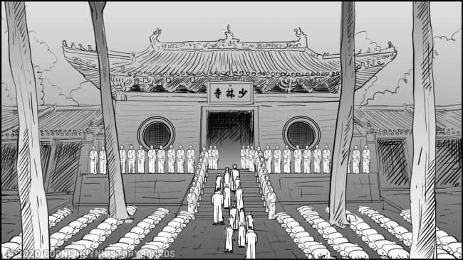 Shaolin kung fu monks-ceremony procession