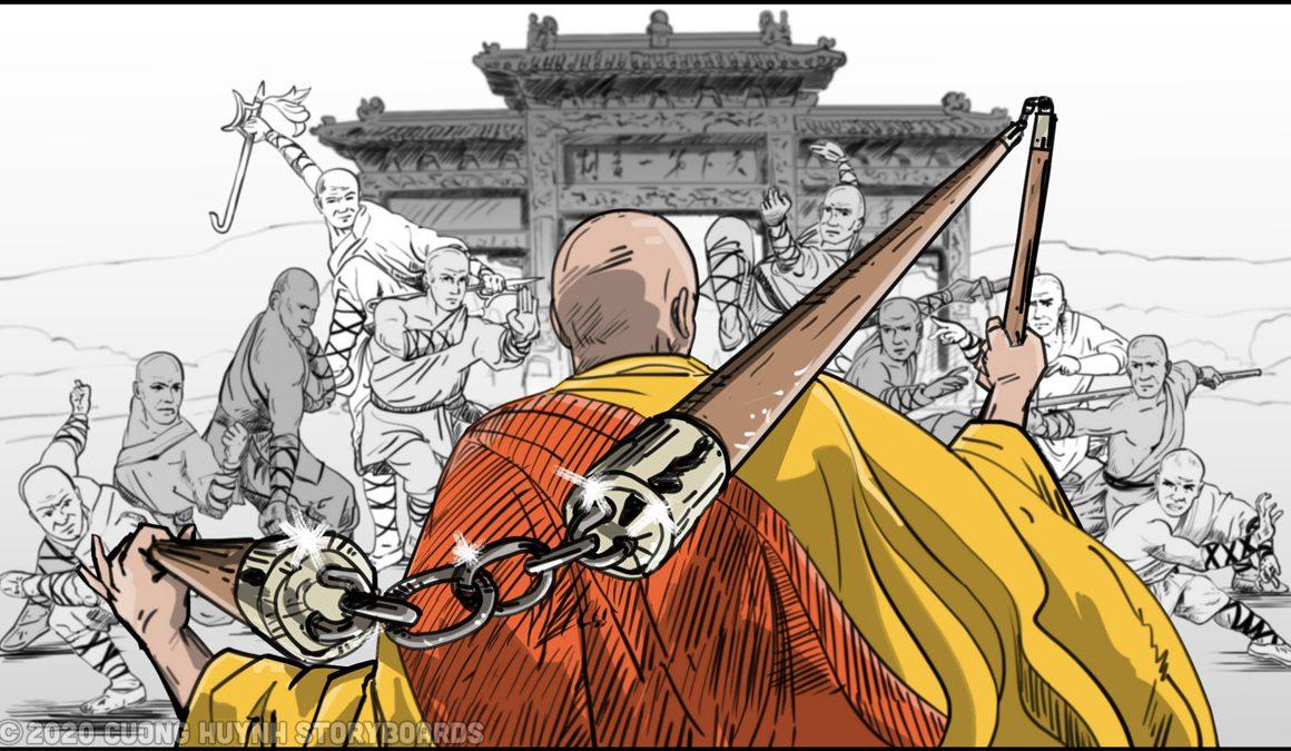 Shaolin kung fu monks three staff faceoff-8